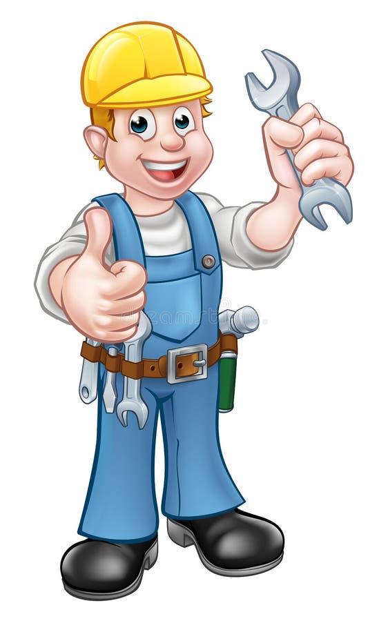 Meccanico o idraulico con la chiave illustrazione di stock