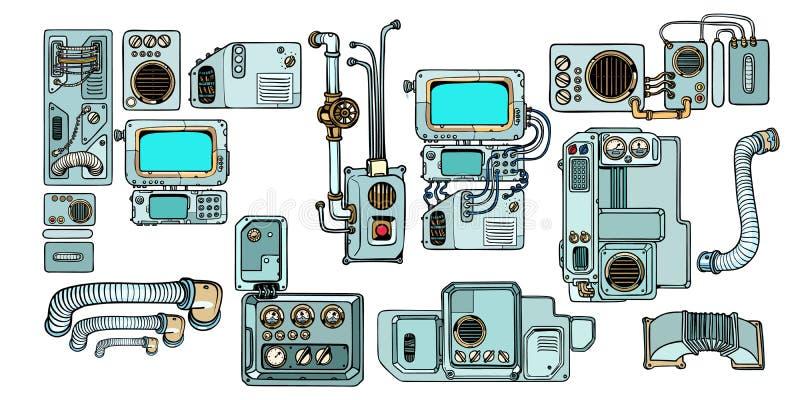 Meccanismi e macchine dei robot di Cyberpunk Dettagli dello spacecr illustrazione di stock