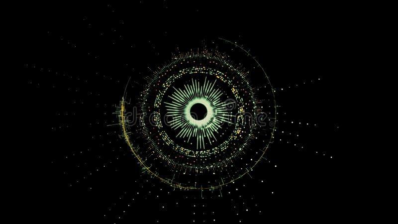 Meccanismo circolare verde girante futuristico astratto con parecchie parti illustrazione di stock