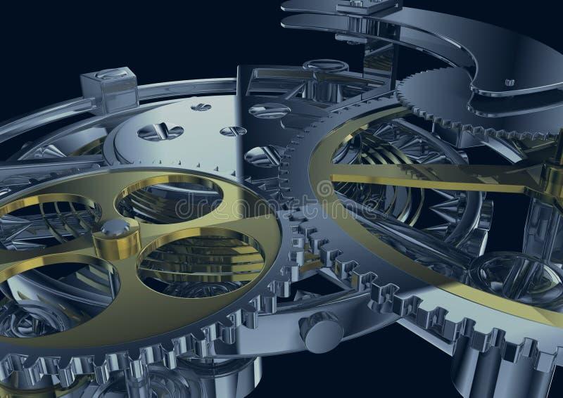Meccanismo del movimento a orologeria illustrazione vettoriale