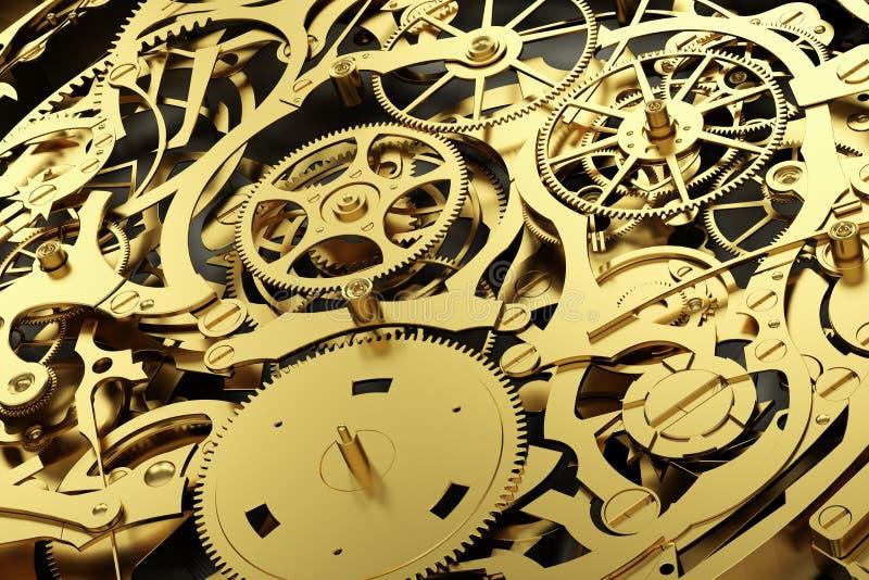 Meccanismo dell'oro, movimento a orologeria con le attrezzature di lavoro illustrazione vettoriale