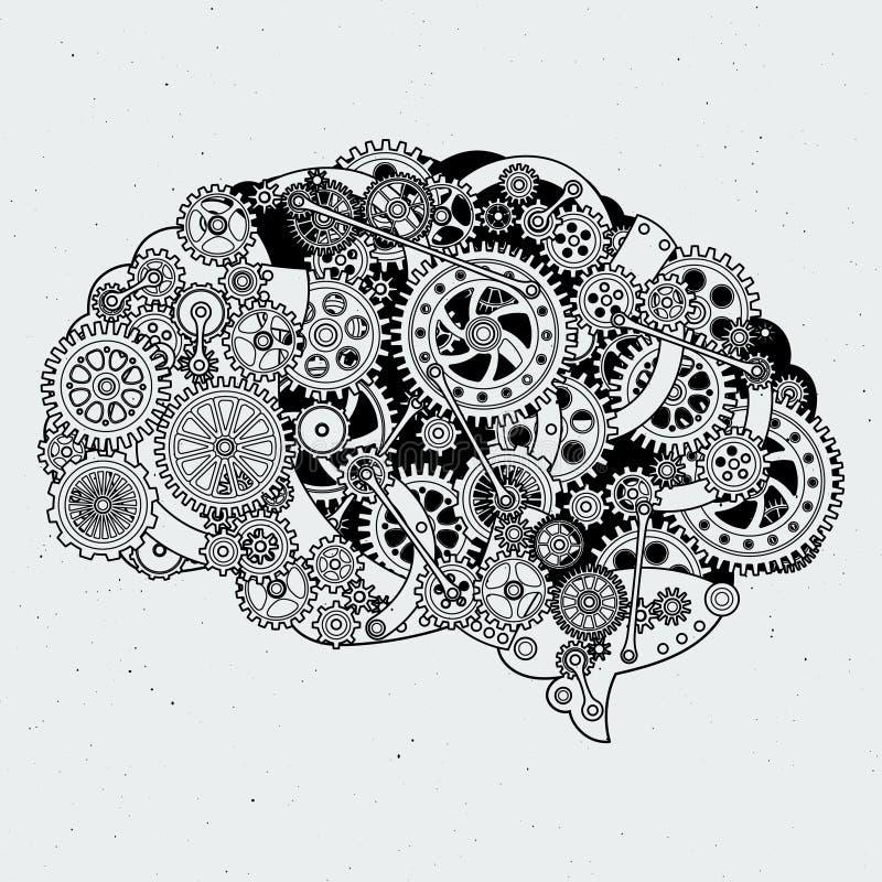 Meccanismo dell'orologio in cervello umano Ruote dentate differenti di acciaio Illustrazioni disegnate a mano di vettore illustrazione vettoriale