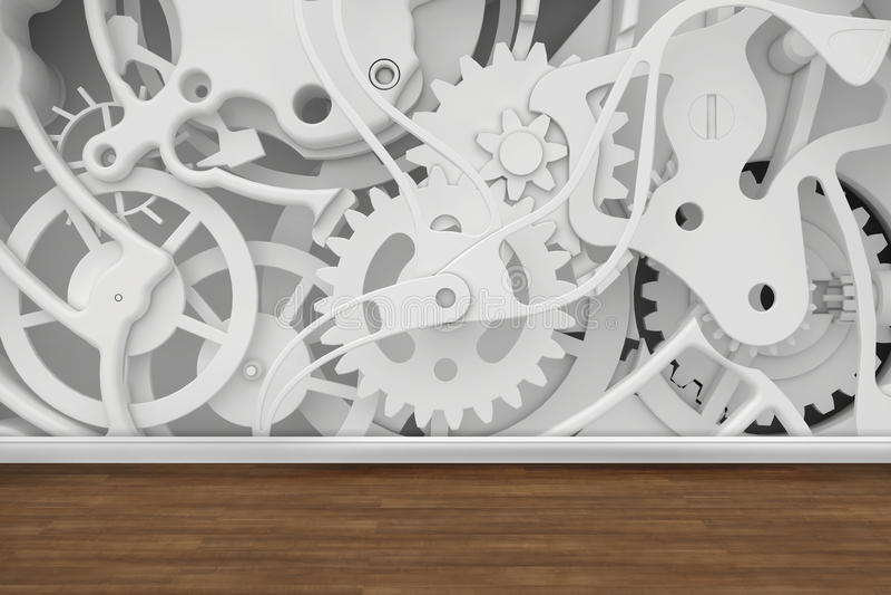 Meccanismo delle ruote dentate nella stanza illustrazione di stock