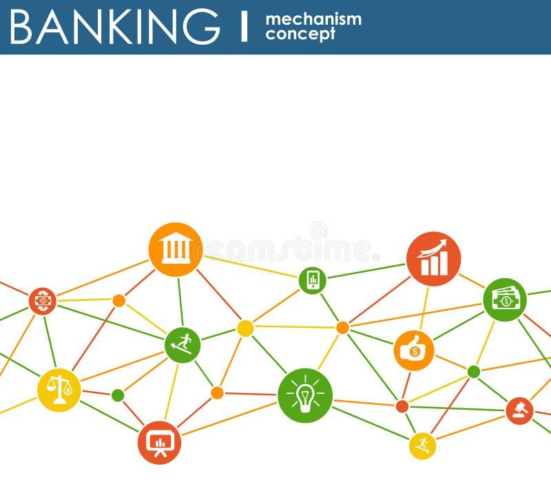 Meccanismo di attività bancarie Fondo astratto con gli ingranaggi collegati e le icone piane integrate simboli per soldi, carta,  illustrazione di stock