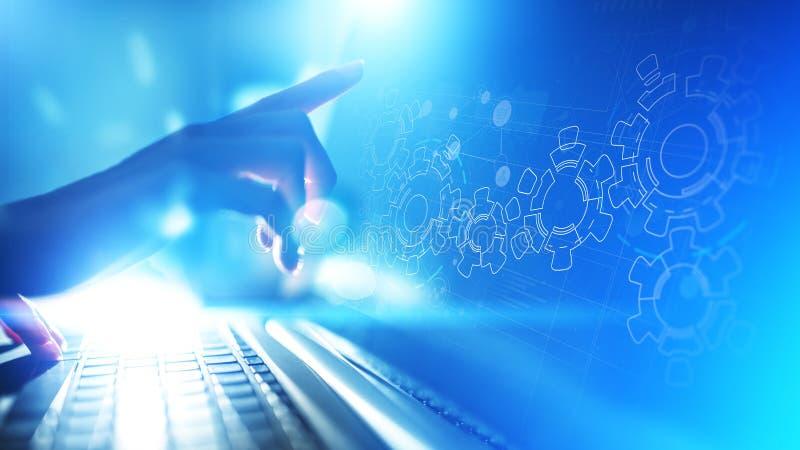 Meccanismo di ingranaggi sullo schermo virtuale Flusso di processo aziendale e di automazione Concetto di tecnologia e di affari immagini stock