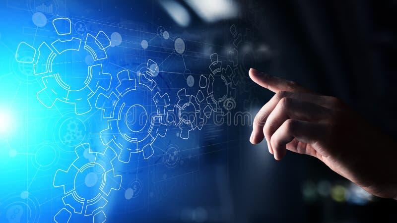 Meccanismo di ingranaggi sullo schermo virtuale Flusso di processo aziendale e di automazione Concetto di tecnologia e di affari fotografia stock libera da diritti