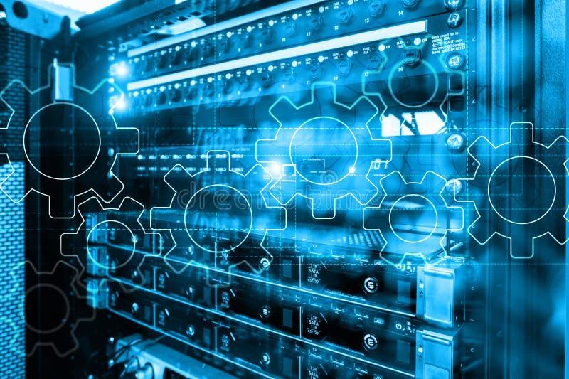 Meccanismo di ingranaggi, trasformazione digitale, integrazione di dati e concetto di tecnologia digitale illustrazione di stock
