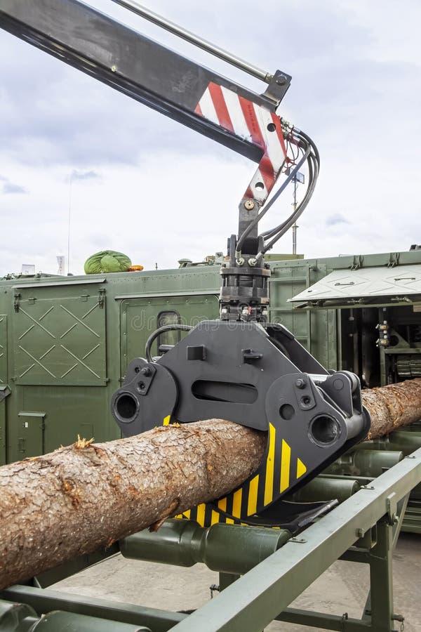 Meccanismo idraulico per il sollevamento dei tronchi alla sega Chiudi fotografie stock