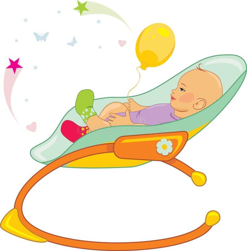 Mecedora del bebé aislada en blanco stock de ilustración