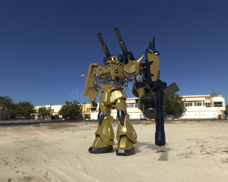 Mech στρατιώτης sci-Fi που στέκεται σε ένα υπόβαθρο τοπίων Στρατιωτικό φουτουριστικό ρομπότ με ένα πράσινο και γκρίζο μέταλλο χρώ ελεύθερη απεικόνιση δικαιώματος