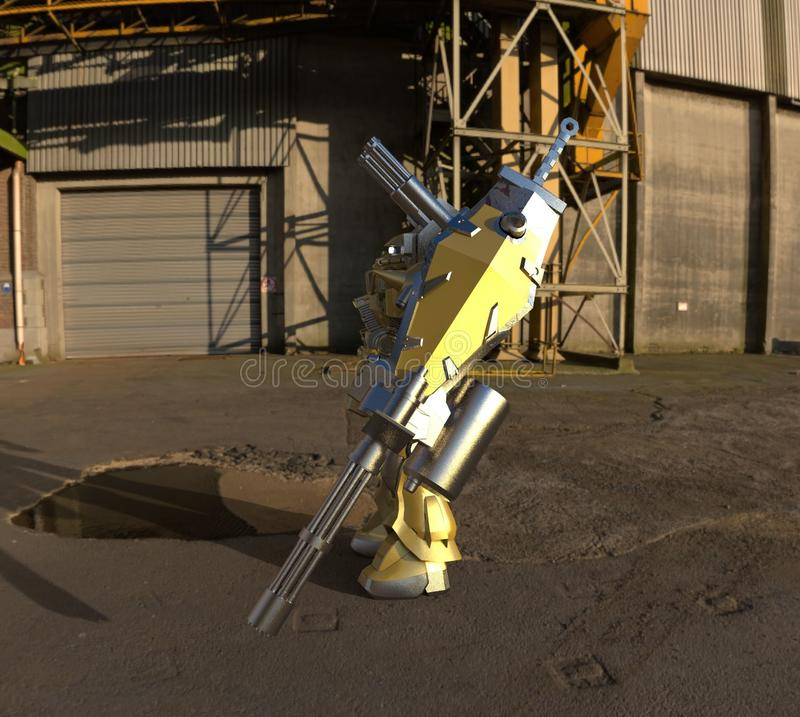 Mech στρατιώτης sci-Fi που στέκεται σε ένα υπόβαθρο τοπίων Στρατιωτικό φουτουριστικό ρομπότ με ένα πράσινο και γκρίζο μέταλλο χρώ απεικόνιση αποθεμάτων