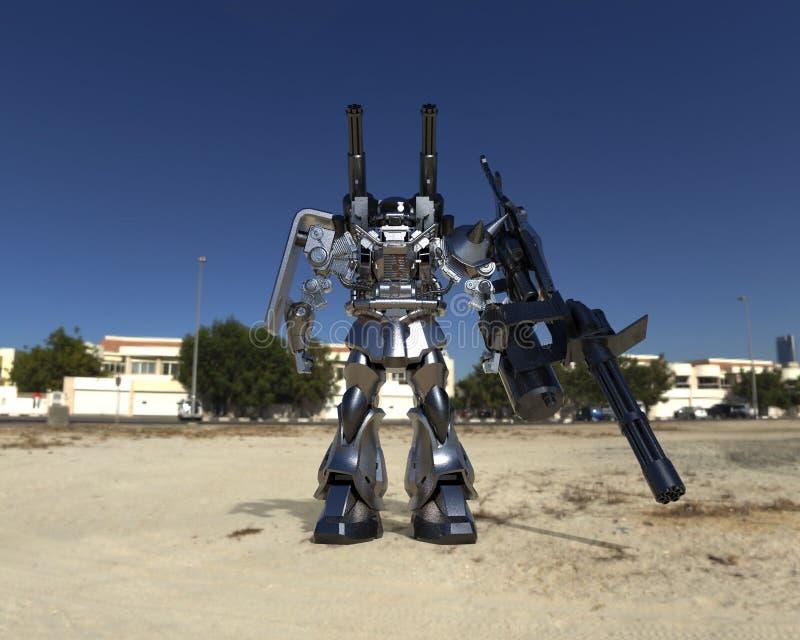 Mech στρατιώτης sci-Fi που στέκεται σε ένα υπόβαθρο τοπίων Στρατιωτικό φουτουριστικό ρομπότ με ένα πράσινο και γκρίζο μέταλλο χρώ διανυσματική απεικόνιση
