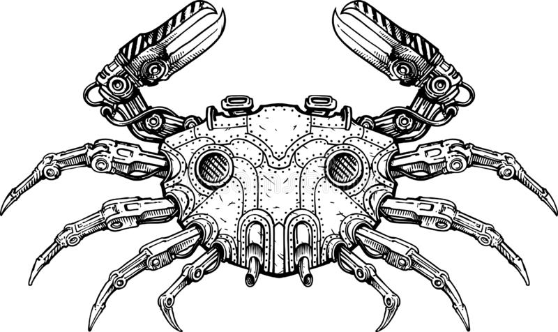 Mech crab. Black and white vector illustration of mechanical crab royalty free illustration
