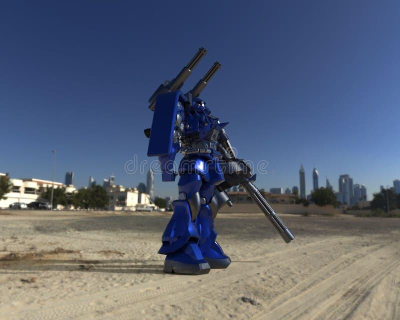 Mech militair sc.i-FI die zich op een landschapsachtergrond bevinden Militaire futuristische robot met een groen en grijs kleuren stock illustratie