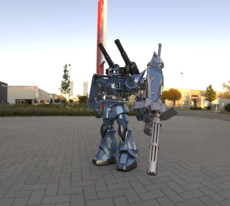 Mech militair sc.i-FI die zich op een landschapsachtergrond bevinden Militaire futuristische robot met een groen en grijs kleuren royalty-vrije illustratie