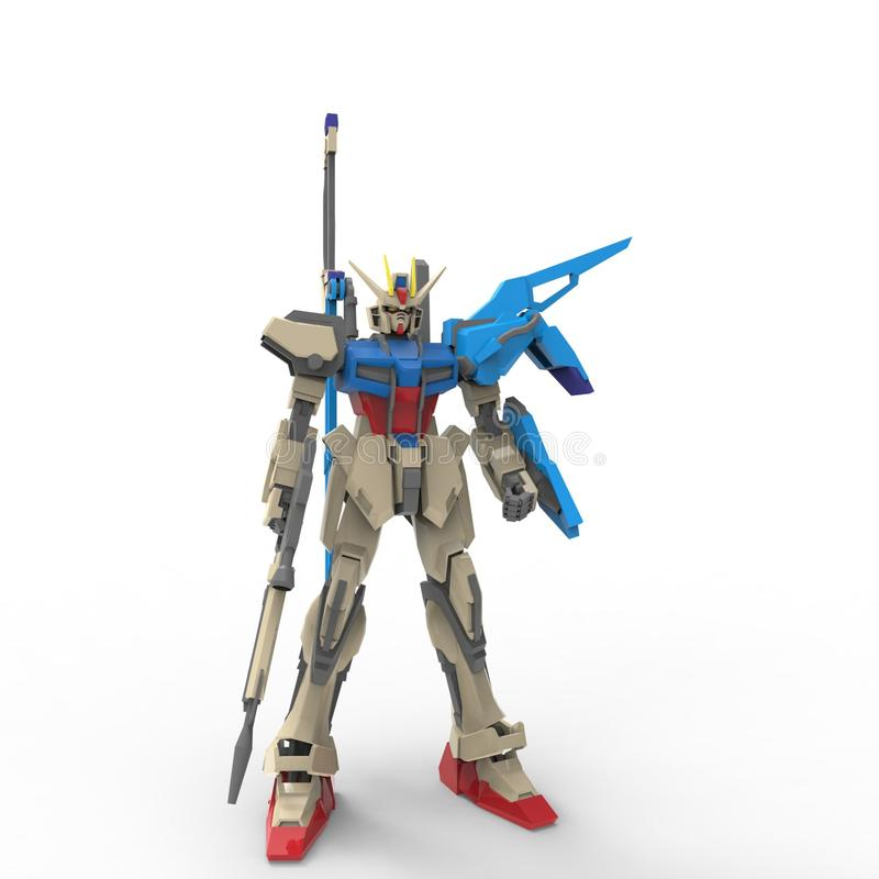 Mech militair sc.i-FI die zich op een witte achtergrond bevinden Militaire futuristische robot met een groen en grijs kleurenmeta stock illustratie