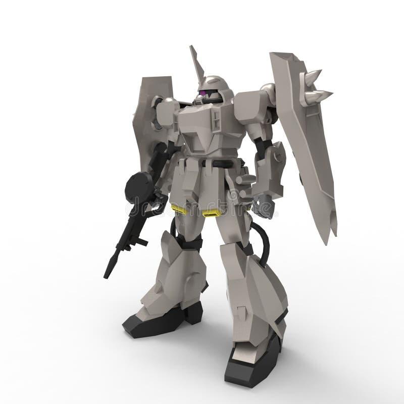 Mech militair sc.i-FI die zich op een witte achtergrond bevinden Militaire futuristische robot met een groen en grijs kleurenmeta royalty-vrije illustratie