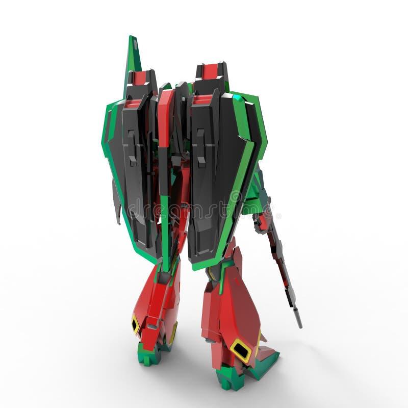 Mech militair sc.i-FI die zich op een witte achtergrond bevinden Militaire futuristische robot met een groen en grijs kleurenmeta vector illustratie