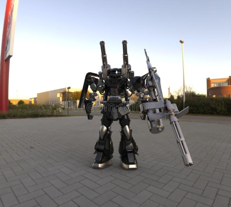 Mech soldatanseende f?r science fiction p? en landskapbakgrund Milit?r futuristisk robot med en gr?splan och en gr? f?rgmetall Me vektor illustrationer