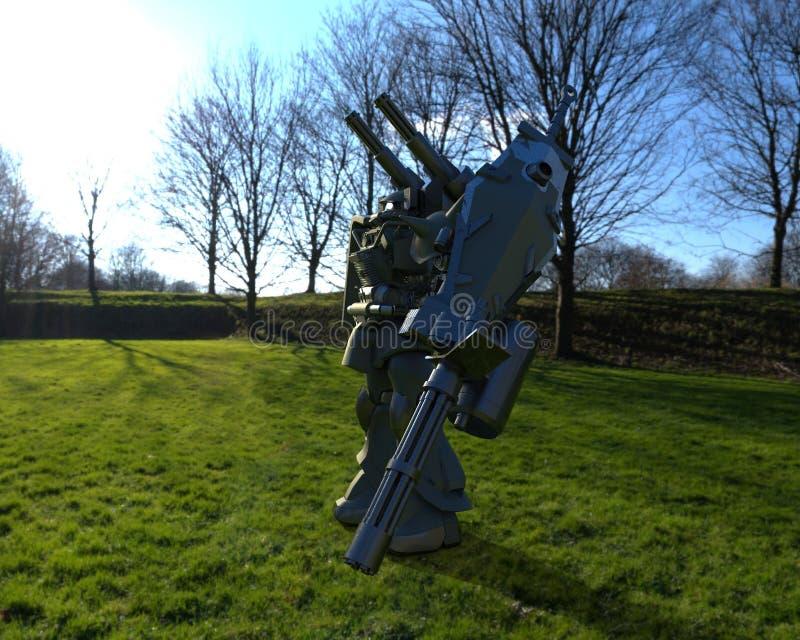 Mech soldatanseende f?r science fiction p? en landskapbakgrund Milit?r futuristisk robot med en gr?splan och en gr? f?rgmetall Me stock illustrationer
