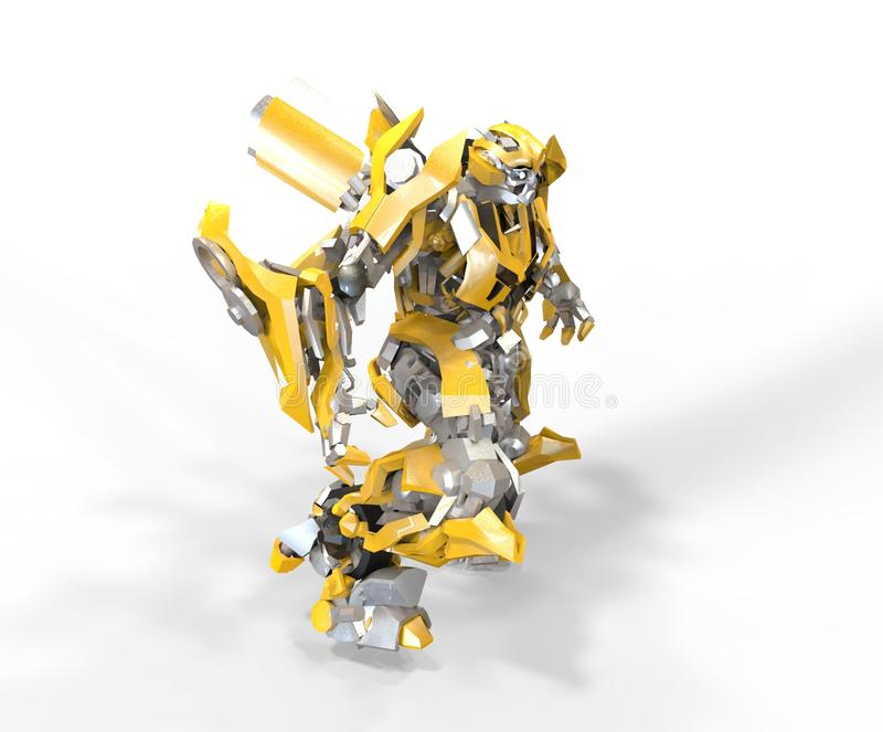 Mech soldatanseende f?r science fiction p? en landskapbakgrund Milit?r futuristisk robot med en gr?splan och en gr? f?rgmetall Me royaltyfri illustrationer