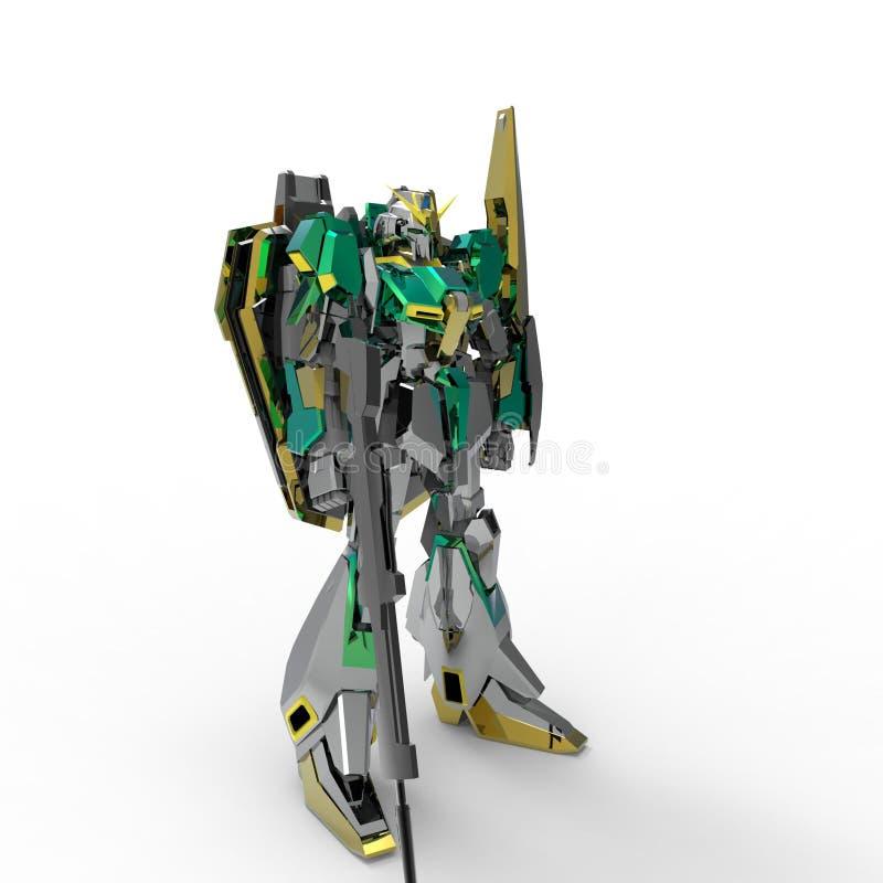 Mech soldatanseende f?r science fiction p? en vit bakgrund Milit?r futuristisk robot med en gr?splan och en gr? f?rgmetall Kontro royaltyfri illustrationer