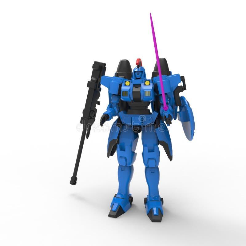 Mech soldatanseende f?r science fiction p? en vit bakgrund Milit?r futuristisk robot med en gr?splan och en gr? f?rgmetall Kontro vektor illustrationer