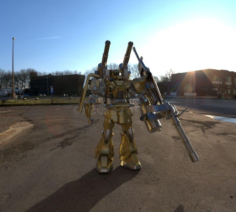 Mech Soldatstellung der Sciencefiction auf einem Landschaftshintergrund Milit?rischer futuristischer Roboter mit einem Gr?n und g stock abbildung