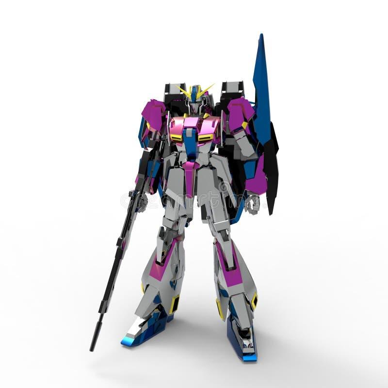 Mech Soldatstellung der Sciencefiction auf einem wei?en Hintergrund Milit?rischer futuristischer Roboter mit einem Gr?n und graue lizenzfreie abbildung
