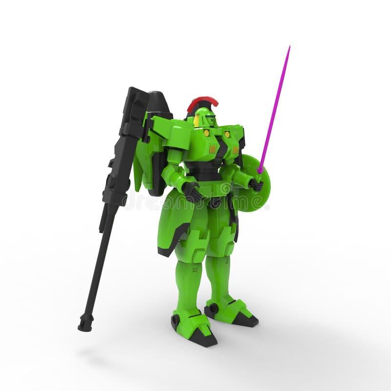 Mech Soldatstellung der Sciencefiction auf einem wei?en Hintergrund Milit?rischer futuristischer Roboter mit einem Gr?n und graue stock abbildung