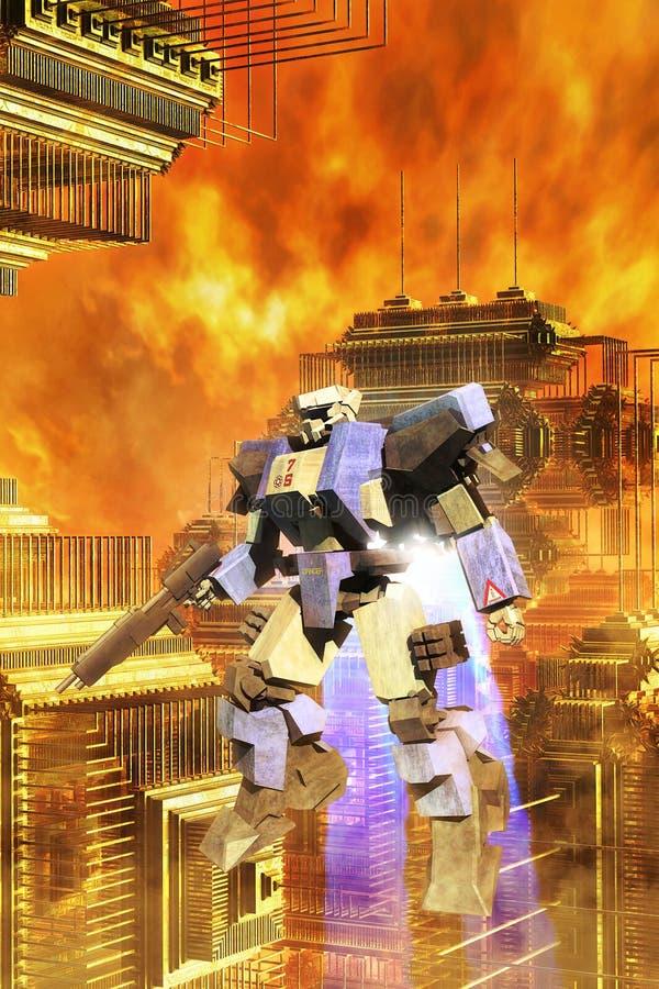 Mecha gigante do robô da batalha ilustração stock