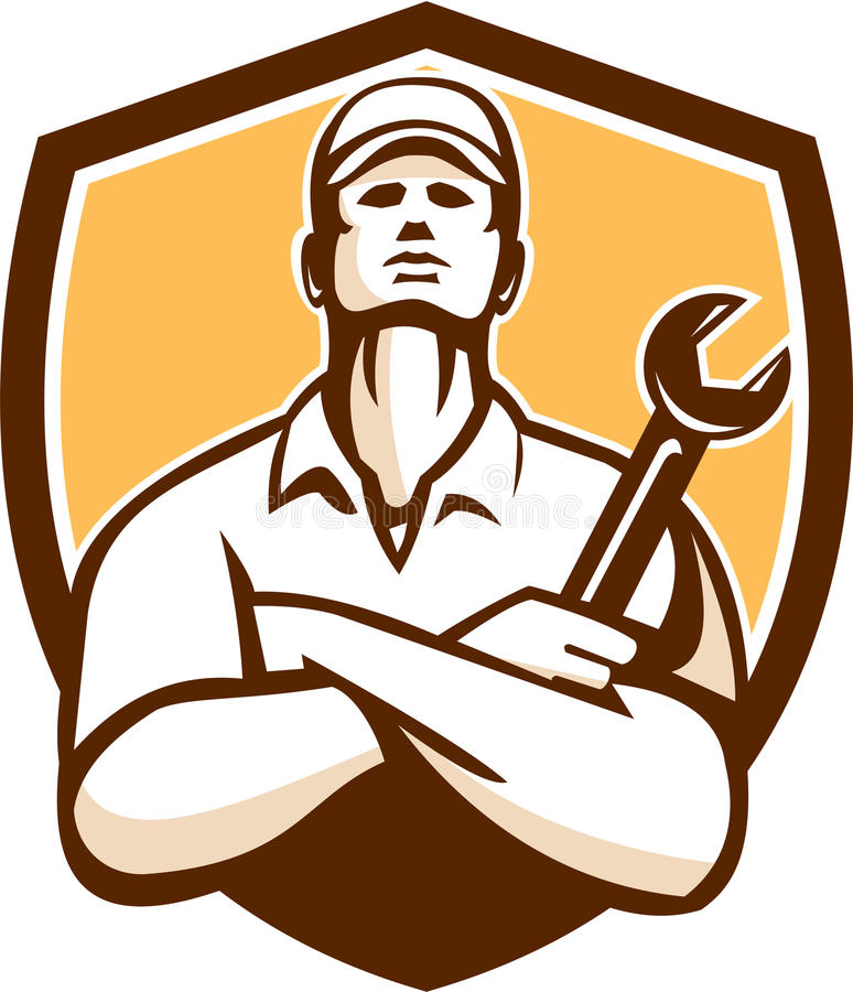Free Mechanic Arms Crossed Wrench Shield Retro Stock Image - 50620551