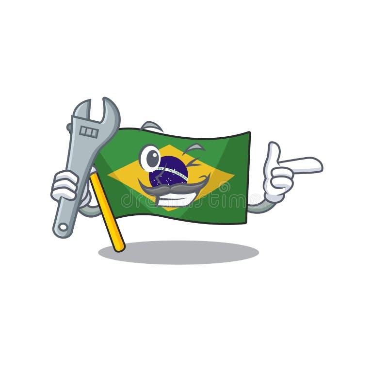 Mechanic brazil flag kept in mascot drawer. Illustration vector royalty free illustration