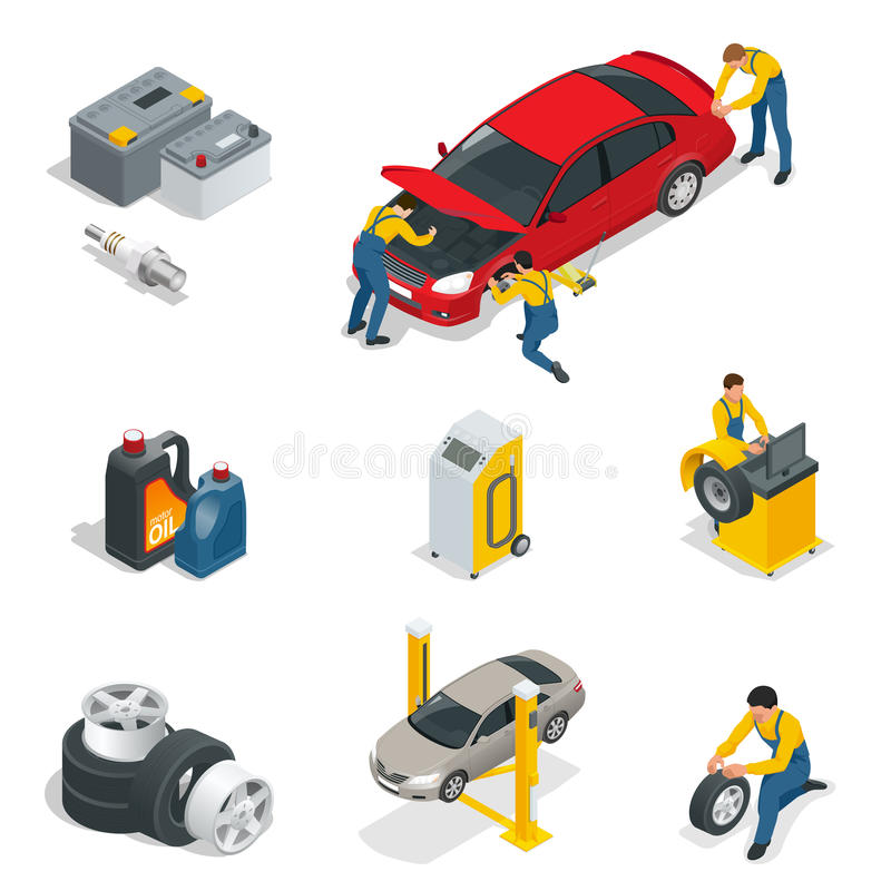 Mechanic and Car Repair, Battery, Spark plugs, Oil, Tires, Wheels elements. Flat 3d isometric illustration. For infographics and design stock illustration