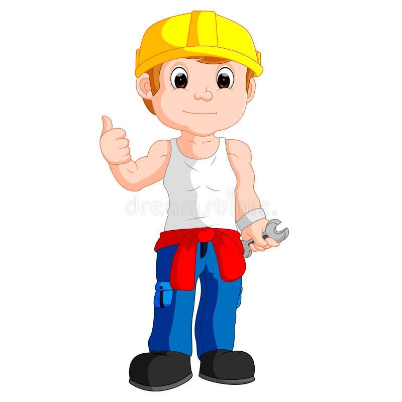 Mechanic cartoon thumb up vector illustration