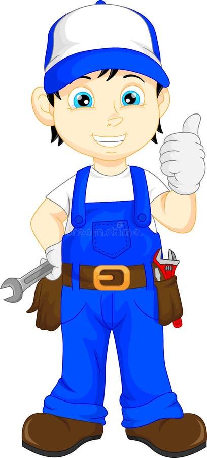 Mechanic cartoon thumb up royalty free illustration