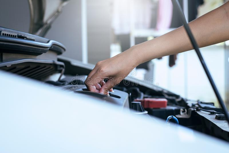 Mechanic changing oil mechanic car stock images