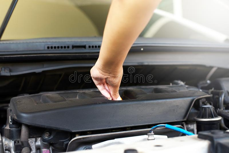 Mechanic changing oil mechanic car royalty free stock photo