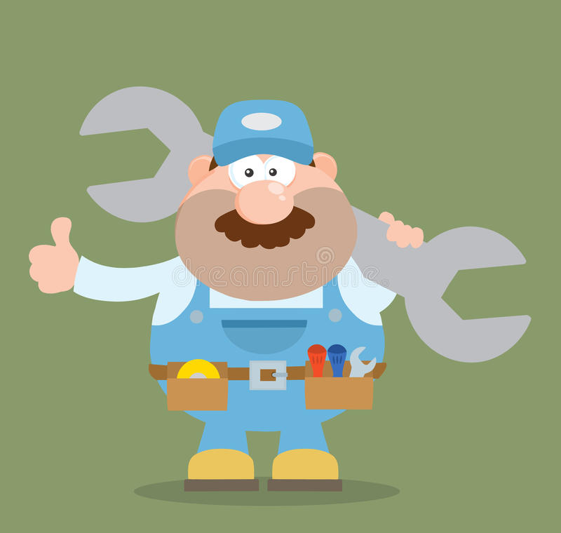 Mechanic Character Holding Huge Wrench And Giving A Thumb Up Flat Syle stock illustration