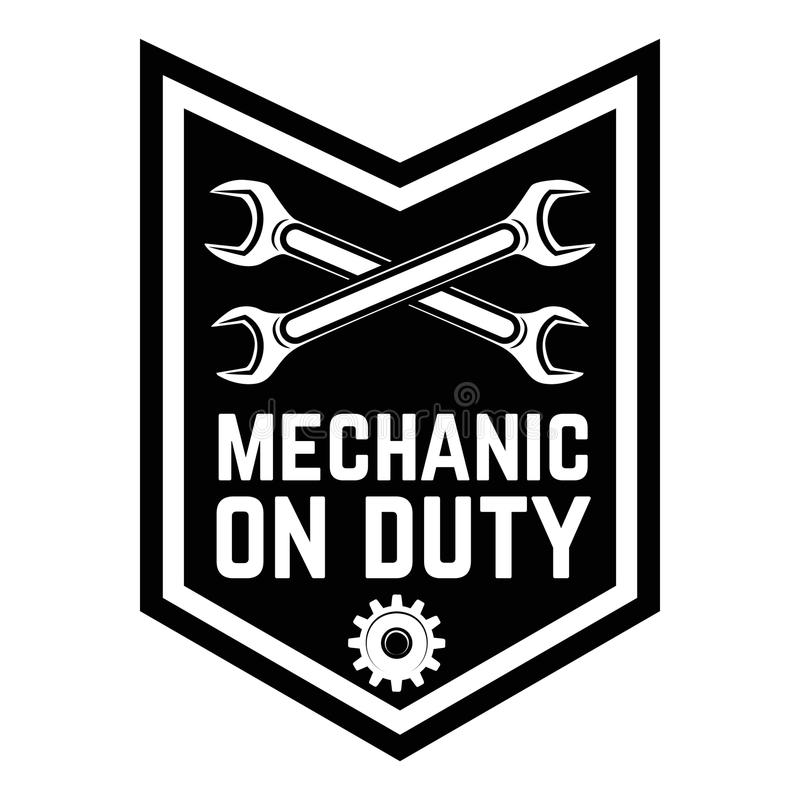 mechanic on duty emblem template with crossed wrenches car repair rh dreamstime com Skull Wrench Auto Logo Skull Wrench Auto Logo