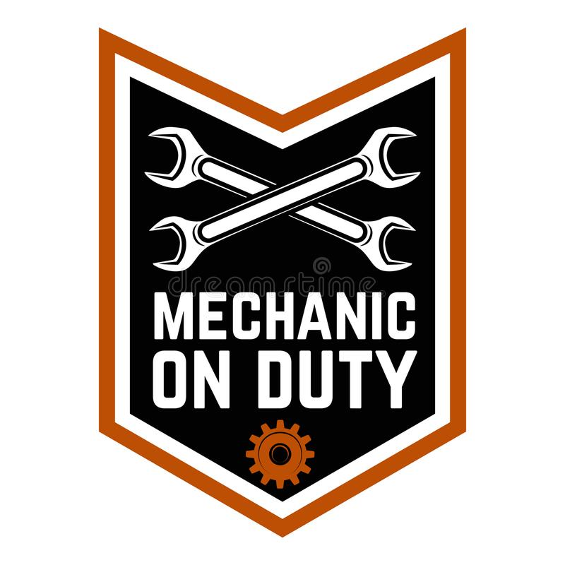mechanic on duty emblem template with crossed wrenches car repair rh dreamstime com Car Logo with Wrench Car Repair Logo