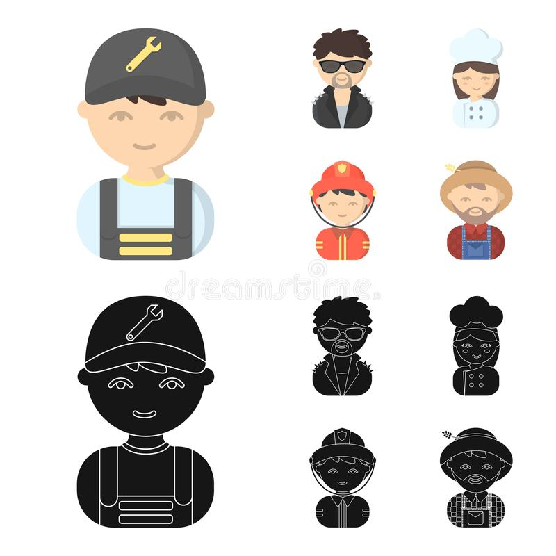 Mechanic, entertainer, cook, fireman.Profession set collection icons in cartoon,black style vector symbol stock. Illustration stock illustration