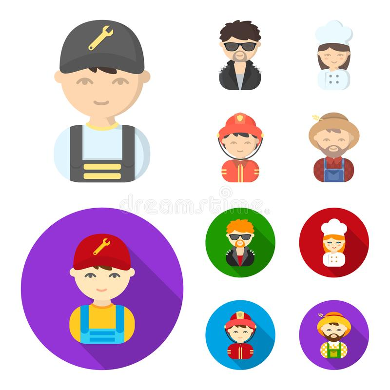 Mechanic, entertainer, cook, fireman.Profession set collection icons in cartoon,flat style vector symbol stock. Illustration stock illustration