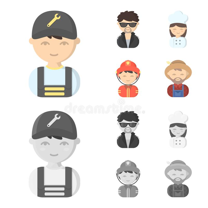 Mechanic, entertainer, cook, fireman.Profession set collection icons in cartoon,monochrome style vector symbol stock. Illustration vector illustration