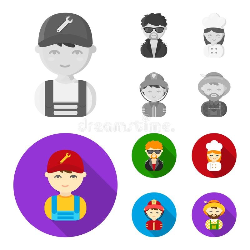 Mechanic, entertainer, cook, fireman.Profession set collection icons in monochrome,flat style vector symbol stock. Illustration stock illustration