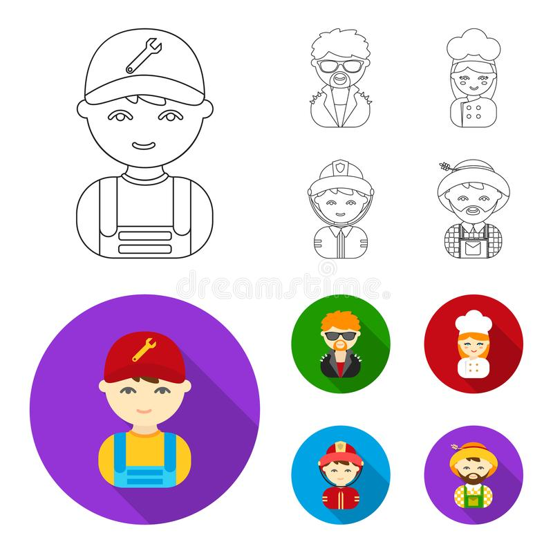 Mechanic, entertainer, cook, fireman.Profession set collection icons in outline,flat style vector symbol stock. Illustration royalty free illustration