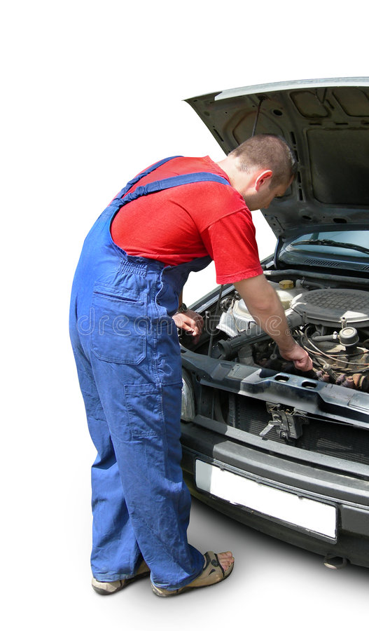 Mechanic fixing car engine stock photo