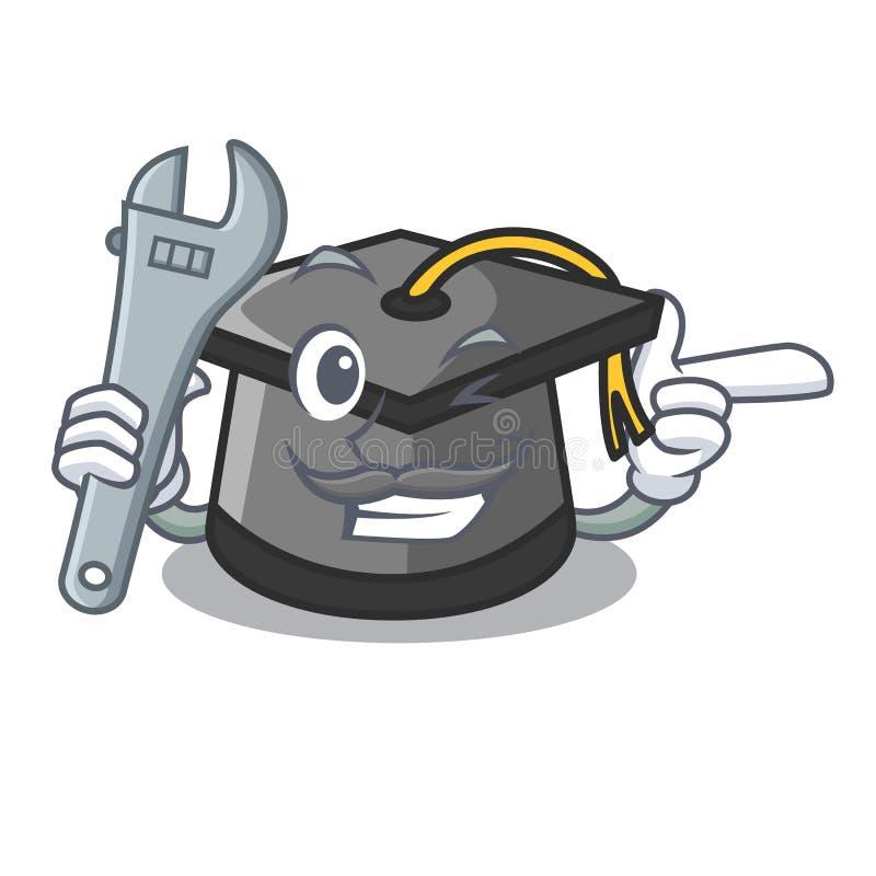 Download Mechanic Graduation Hat Mascot Cartoon Stock Vector