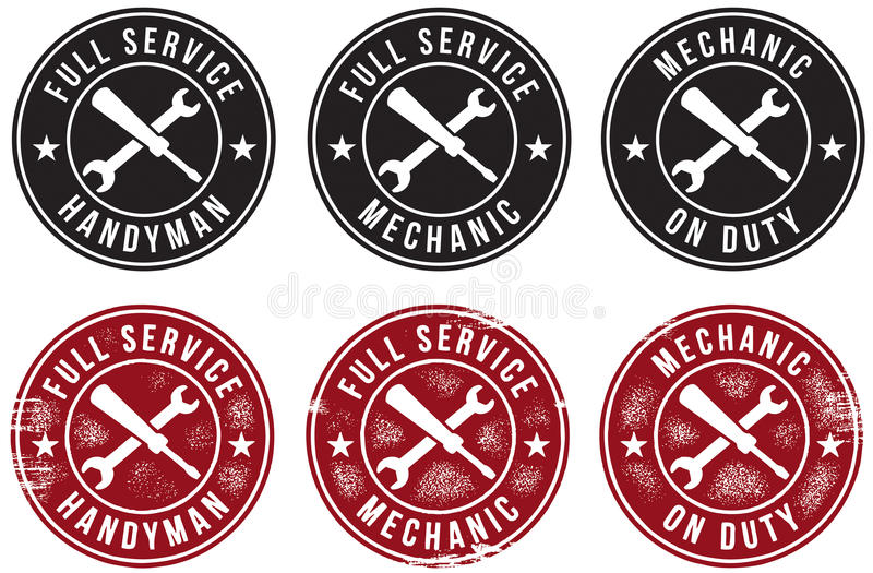 Mechanic Handyman Service Stamps royalty free illustration