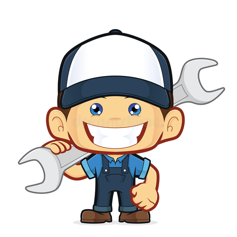 Mechanic holding a huge wrench royalty free illustration